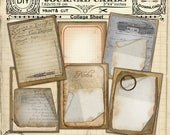 Printable Journal CARDS Set 3inx4in Vintage Tags Collage Sheet Instant Download Journal Card Scrapbooking DIY Papercraft Old paper n198