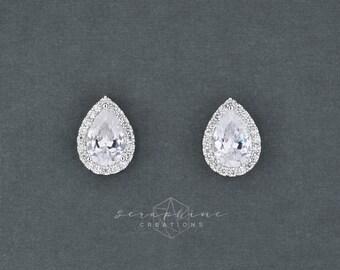 Cubic Zirconia Bridesmaid Gifts, Bridesmaid Earrings,Teardrop Bridal Party Gifts Wedding Earrings Crystal Bridesmaid Jewelry Classic K136