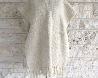 60s Mexican Cape Mexican Poncho Cream Wool Poncho Jacket Ethnic Boho Fringe Toluca Knit Cape