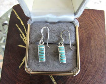 Turquoise Earrings 90's Southwestern Jewelry Earrings Petite Turquoise Inlay Earrings