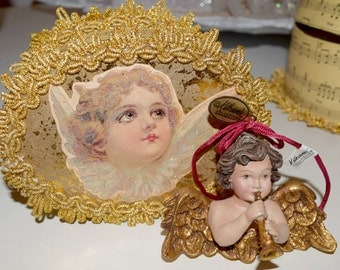 Victorian Christmas Katherine's Collection Cherub Angel Ornament with Music Note Box