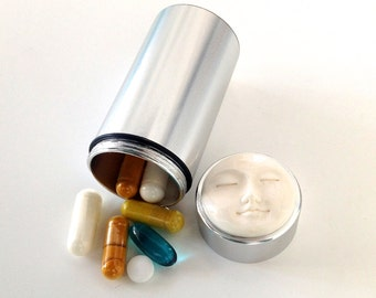 Buffalo Bone Peaceful Moon Face Vitamin Pill Box - Pill Case - Travel Pill Case - Cylinder Stash - Gift for Dad - Pill Case for mom