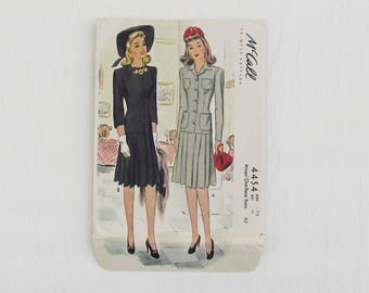"""1940's McCall's sewing pattern for Misses' one piece dress, size 12 bust 30"""", short sleeved or long sleeved dress with pleated skirt"""