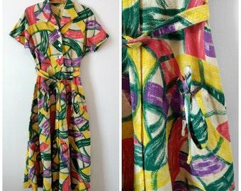 vintage 1930s maxi dress, 1930s summer dress, 30s print dress, small, medium