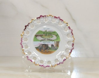 """Vintage Great Smoky Mountains Souvenir Plate, Violet Trim with 24K Gold Gilt, Fairway, Gold Gilt, Collector's Plate, 5"""" Decorator Plate"""