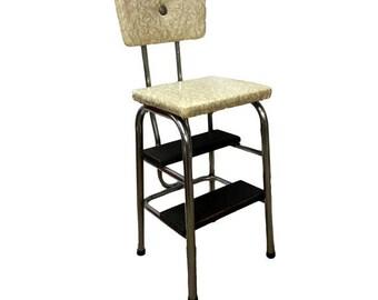 Vintage Kitchen Step Stool, Mid Century Modern Chrome Flip Seat Stool