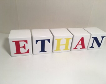 Baby Name Blocks, Photo Prop, Baby Wood Blocks, Multicolor