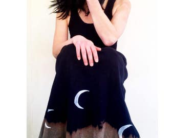 Sister of The Moon Dress/ Dipped Dyed Crescent  Moon Dress - Made to Order