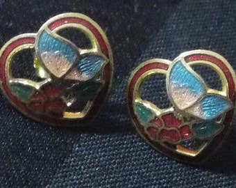 Vintage Cloisonne Floral Butterfly Heart Gold Tone Post Earrings ~ Retro Cute Glamour Costume Jewelry