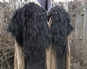 RESERVED for Marsvigila - 2 Viking Fur Mantles - XL Deluxe, Celtic Buckle - Northern Wolf & Black Wolf