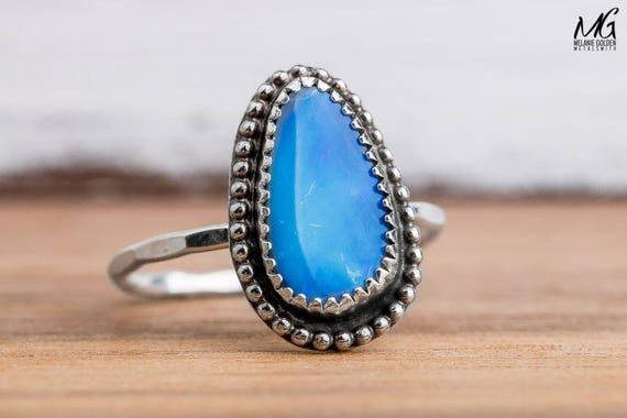 Boulder Opal Gemstone Ring in Sterling Silver - Size 8