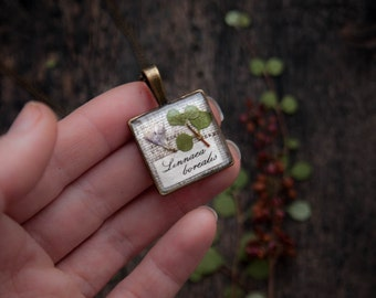 Twinflower Necklace - Pressed flowers jewelry - Linnaea borealis
