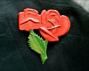 1950s Door Decoration Red Roses by Jeri USA New Old Stock