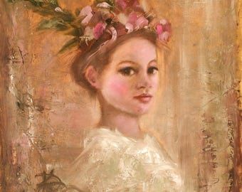 Bohemian Art Print | Portrait | Flowers in Her Hair |8x8|12x12|16x16