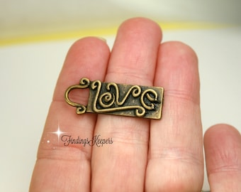 Love Word Charms Antique Bronze Tone 32 x 10 mm   bz457