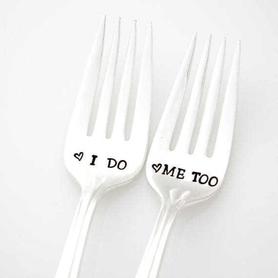 I Do and Me Too wedding forks. Hand stamped silverware, unique engagement gift. Milk and Honey