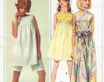 60s Baby Doll Dress Pattern Butterick 4625. Yoked Dress in 3 Lengths, Sleeveless. Lace Trimmed Shorts. Size 14 Bust 34 in.