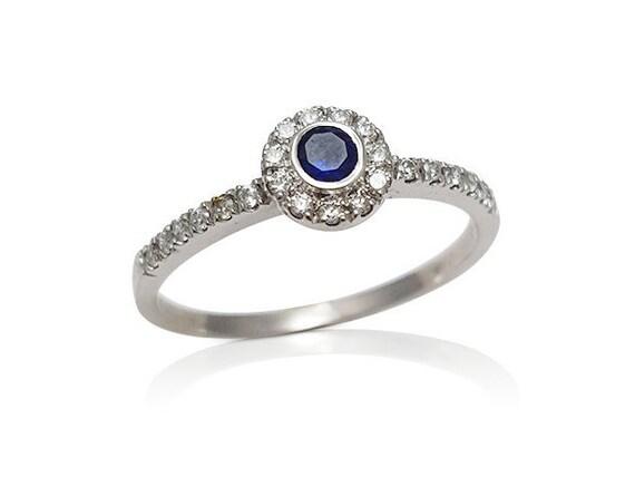 sapphire engagement ring unique engagement stackable