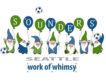Sounders Seattle Gnome Soccer Print - 8x10 - Ready to frame - Archival ink and paper - Great gift for the soccer and gnome lover