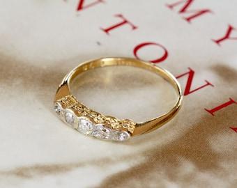 Antique Diamond Platinum 18k Gold Engagement Ring, Mid Century Diamond Engagement Ring, 1940s Diamond Wedding Band, Diamond Stacking Ring