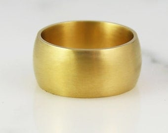 10mm Heavy Cigar Band - 2mm Thick - Solid Gold - Ultra Wide Ring - Mens Womens Unisex - 14k 18k 22k - 5 - 8.25