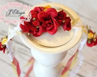 Red, yellow, gold floral halo headband | hand-made baby halo crown | mtm princess