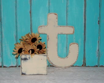 Distressed Wooden Letter t Wall Decor / Wedding Decor Lowercase Wood Letters