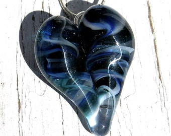 Heart Pendant, Boro Glass Jewelry, Flamework Pendant Lampwork Boro, Hand blown Blue twist