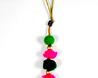 Pink Green Camel Decoration Boho Tassel - Hot Pink and Green Bohemian Tassel / Embellishment / Decoration / Women Dress Tassels