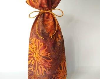Gift bag, Batik Cotton Reusable Gift bag, Wine Bottle Bag