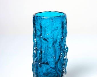 Whitefriars glass vase 9689 Bark Textured Kingfisher Blue, 1960s brutalist mid century modernist retro decor, Geoffrey Baxter design
