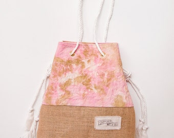 Pink & Gold Shibori Canvas Beach Bag / Burlap Bottom Bag / Tie Dyed