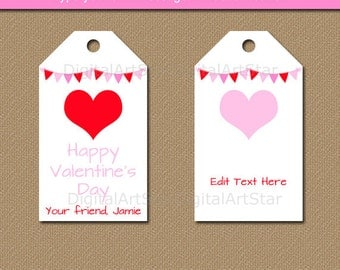 Valentines Day Tag Template, Valentine Hearts Tags, PRINTABLE Valentine Favor Tags, Classroom Valentine Tags, Valentine Hang Tag Download V4