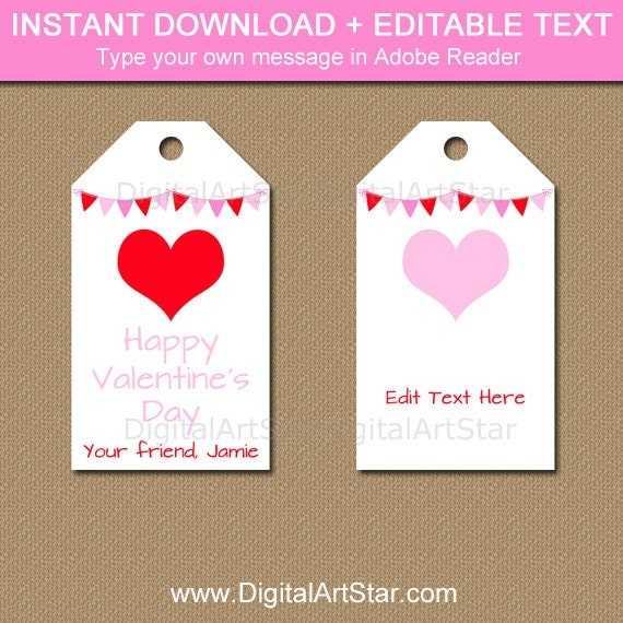 Valentines Day Tag Template, Valentine Hearts Tags, PRINTABLE ...