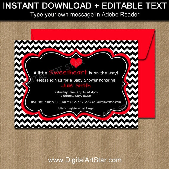 Valentines Day Invitation Template Editable Valentine Baby
