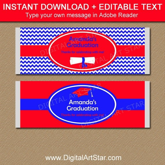 Graduation Candy Bar Wrapper Template, PRINTABLE Graduation Party ...