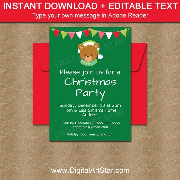 Kids Christmas Party Invitation Holiday Invitation Template