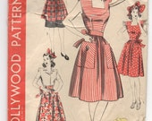 """1940's Hollywood Apron, Pinafore and Bonnet pattern - Bust 38"""" - No. 891"""