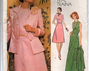 "1970's Vogue Americana Maxi Dress, Short Dress and Jacket Pattern - Bust 43"" - UC/FF - No. 1185"