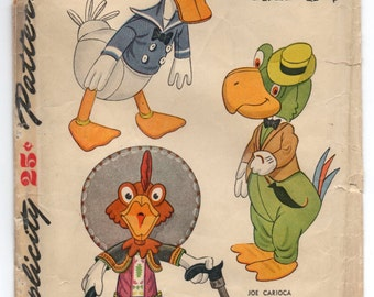 1940's Simplicity Disney Donald Duck, Joe Carioca, Panchito (Three Caballeros) Stuffed animal pattern - No. 7113