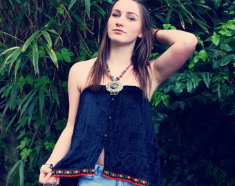 Bohemian Velvet Top XS - XL Split Shirt 90s Vintage Boho Hippie Women's Upcycled Clothing Recycled Eco Friendly OOAK