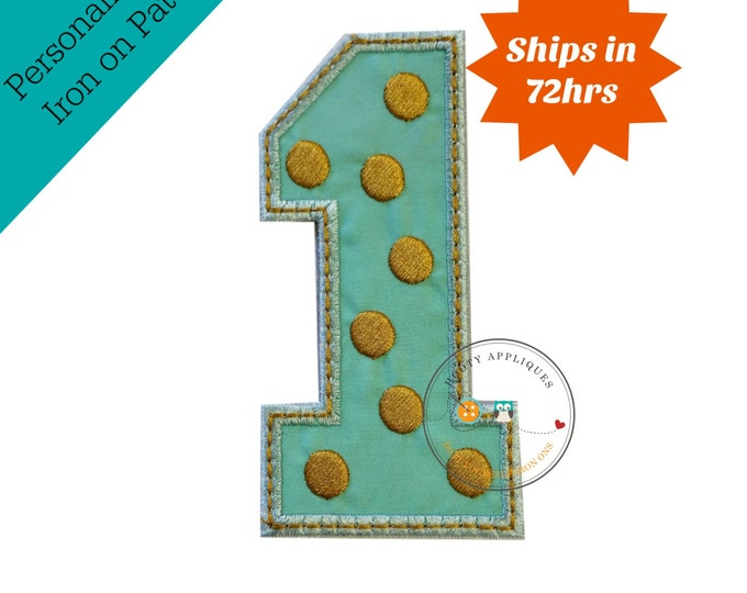 Gold and mint pink birthday number one iron on applique, mint fabric iron on number 1, gold embroidered iron on patch birthday number 1