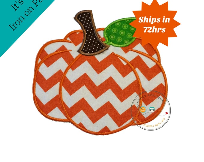 Chevron  pumpkin - large iron embroidered fabric applique patch embellishment- ready to ship