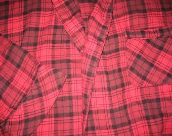 Flannel Bath Robe -  100% Cotton Red Tartan Plaid  - Unisex Men's One Size (Large)