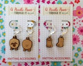 Sheep front and back stitch markers, right side, wrong side wood sheep or pug Earrings or removable markers for knitting and crochet