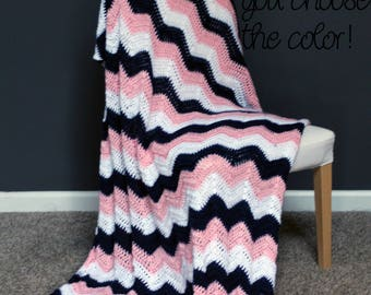Chevron Afghan Throw Blanket Crochet - Dark Blue, Light Pink and White Striped Ripple Zig Zag - Made To Order