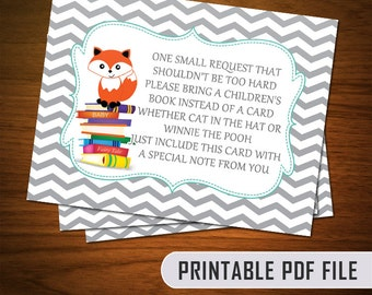 Fox Theme Baby Shower Book Cards - Printable PDF