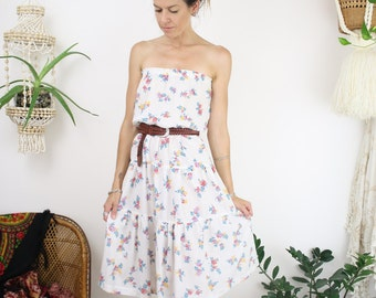 Strapless 70s Summer Dress, Free spirit bohemian vintage white cotton floral dress, Small Medium 3254