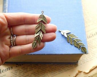 3 pcs LARGE Movble Antique Silver Feather Leaf Charm 63mm (SC3239)