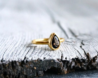 18K Gold Ring Pear Cut Ring Smoky Quartz Ring